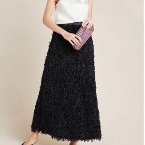 NWT Anthropologie Chantal feathered maxi skirt